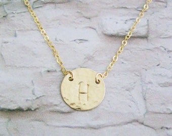 Bridesmaids gift set of 7 necklaces, Personalized Initial necklace, Hammered Gold Filled disc necklace, Personalized costum, Mother's day