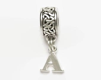 Celtic Knot Bead with Dangling Letter Charm Large Hole European Bead Personalized Silver Tones