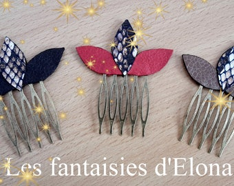 Bronze hair comb with small leaves made of leather - gift idea