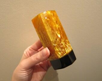 Vintage Lava Flow Catalin Bakelite Octagon Shape Vase Pen Holder Shimmery Amber Yellow Gold Black Base - Desk Office Decor Flower Vase