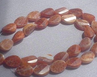Natural Brazilian fire agate facet oval beads 10x14 mm// 8 inches