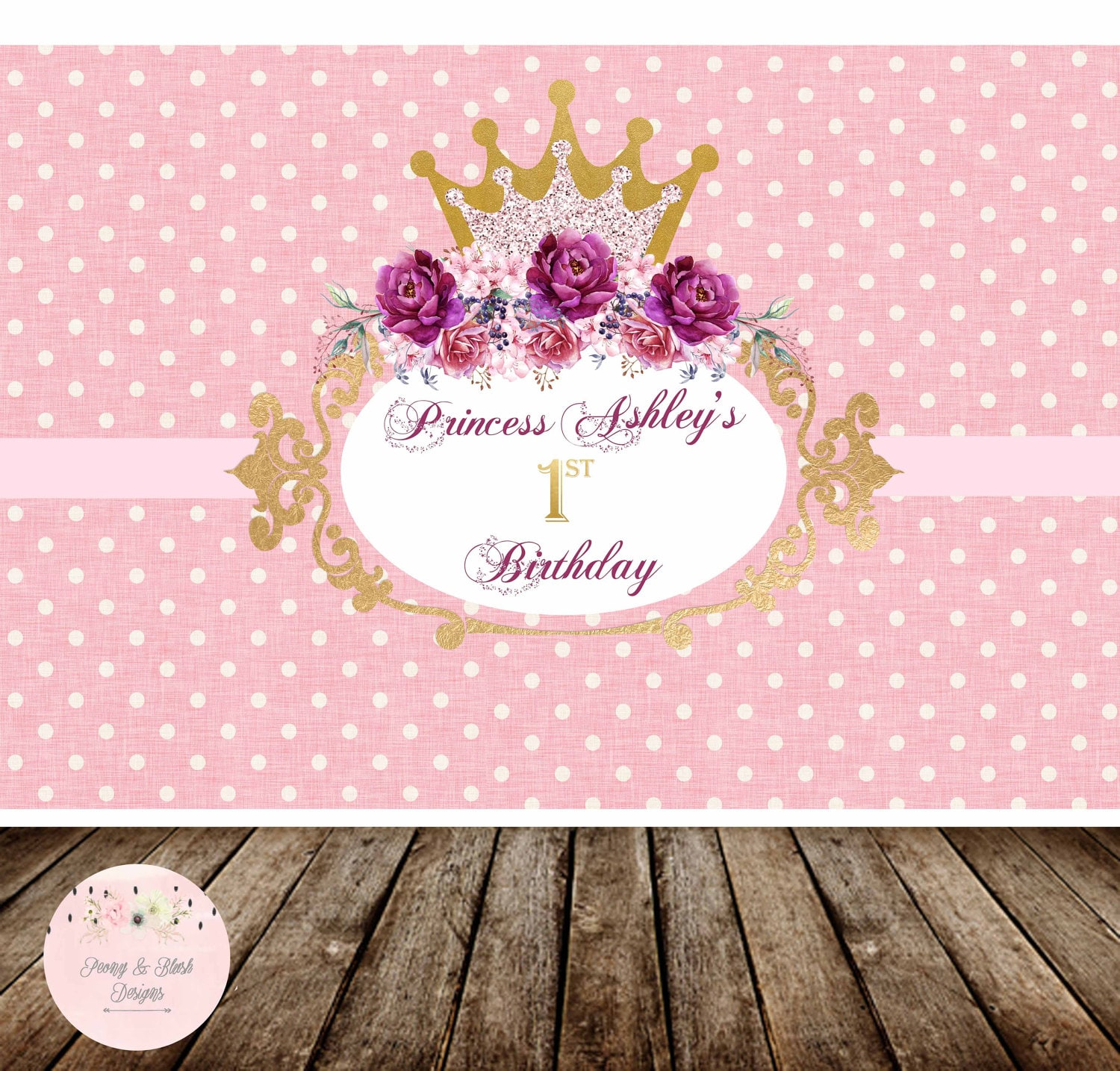 Digital Princess Birthday Backdrop Disney Princess Backdrop