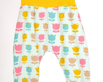 Yellow, blue and pink tulip print Baby Harem Pants/Leggings Jersey material all sizes