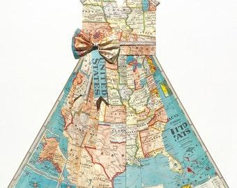 "LARGE USA Map Dress - CUSTOM United States Hand-Folded Map Dress - 24"" x 36"" - Choose your Style! - Nursery Wall Decor Art"