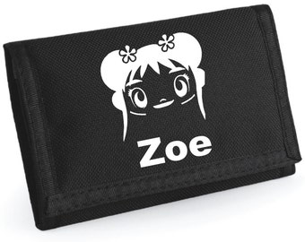 Girls Personalised ANIME Wallet - *Choice of colours*