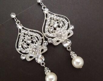 pearl Bridal Earrings, Rhinestone Wedding Earrings, Chandeliers Earrings, swarovski pearl earrings, pearl rhinestone earrings, pearl, STELLA