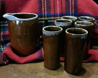 Van Briggle Pitcher and 6 tumblers set 1970's  pitcher and glasses