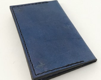 Beautiful royal blue tooled leather business card hold or slim wallet - business card case