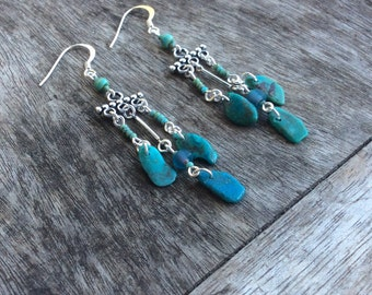 Turquoise earrings,Natural turquoise earring, Fashion earrings, Women earrings,Bohemian earrings,Freeform turquiose stones, Chandelier style
