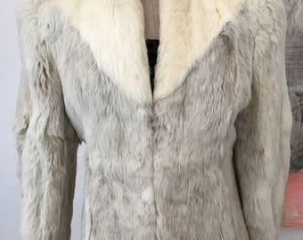 Vintage 70s Gray White Rabbit Fur Coat Jacket by Kamal  Size Large L