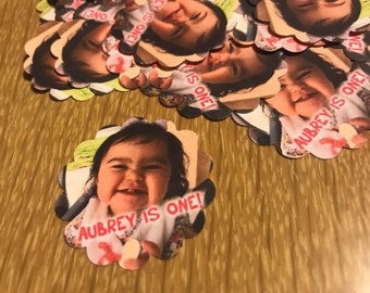 First Birthday Photo Confetti Cupcake Toppers 1.5 Inch Scalloped Edges - 50 pieces - Personalized Photo Confetti