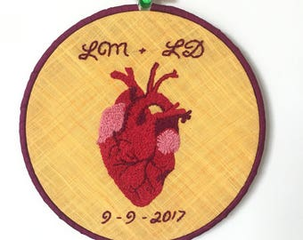 ANATOMICAL HEART EMBROIDERY With Initials and Date : Wedding/Engagement/Anniversary Gift