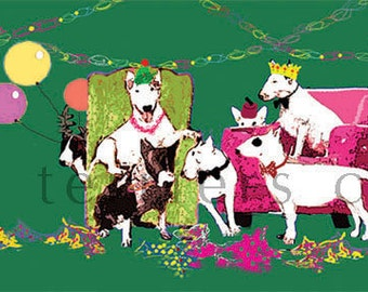 The Bullie Christmas Party  Bull Terrier Card Pack of five
