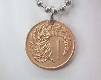 Flower Coin Necklace, New Zealand 1 Cent, Coin Pendant, Ball Chain, Men's Necklace, Women's Necklace, 1967
