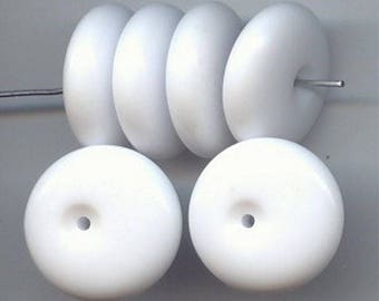 18 Vintage White Acrylic 22mm. Off Centered Hole Disc Bead 6603