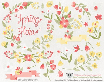 Flowers Clipart Spring Flora 1 Vector Graphics, Flower Clipart, Floral Clipart, PNG, Clip Art, Coral, Yellow