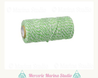 10 m Baker twine Cotton 2mm Green and white Twine
