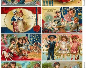 4TH OF JULY Vintage Postcards 4 - Instant Download Digital Collage Sheet
