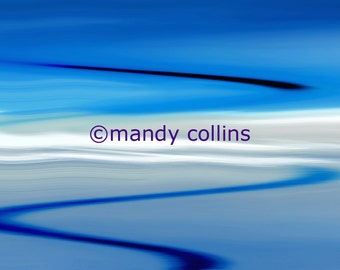 Blue Sunset is an abstract fine art photographic artwork of a beautiful seascape sunset at Rhosneigr, Anglesey, N Wales by Mandy Collins