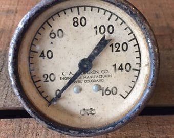 Vintage PSI gauge - Zero to 160 - C.A. Norgren Co. Engineers and Manufacturers, Denver, CO - steampunk
