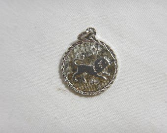 Leo Lion Zodiac Fire Sign Charm Solid Sterling Silver .925 Horoscope -A2