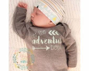 baby boy gown Let the adventure begin Baby boy coming home outfit GRAY gown going home set little brother, baby shower gift, coming home out