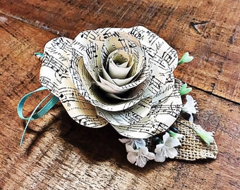 Sheet Music Paper Flower Boutonniere- Customizable