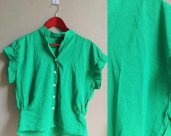 Free Ship! Vintage Green Sleeveless Blouse Women Shirt