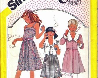 Été robe d'été robe la simplicité 6302 fille sans manches, non-coupe large col case veste couture patron taille 10 Vintage 1980