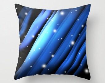 Art Throw Pillow Blue Snow Strips Art Throw Pillow Cover Pillow Art Cover Art Pillow Vector Colorful Blue pillow 16x16, 18x18, 20x20
