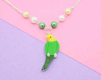 Budgie Necklace Green/Yellow // Polymer Clay, Budgerigar, Parakeet, Bird Jewellery, Bird Necklace, Animal Necklace, Gifts for Bird Lovers