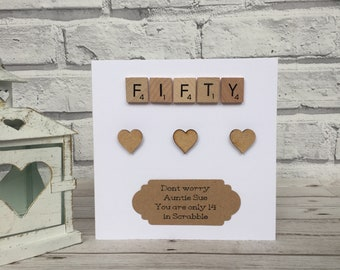 50th Birthday Card, Personalised 50th Birthday Card, 50th Birthday Scrabble Card, 50th Birthday Milestone Card