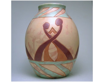 The Dance: Wheel Thrown, deep carved, hand painted Vase, Decorative Pottery