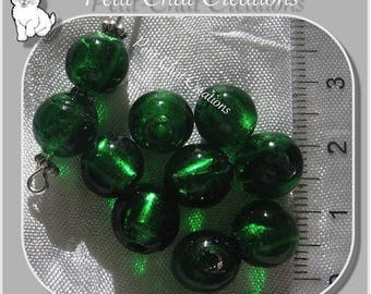 10 round beads green dark 9-10mm silver leaf LAMPWORK glass tree * L244