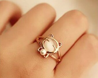 KATIE Little Kitten With a Bow Cutie Style Ring White
