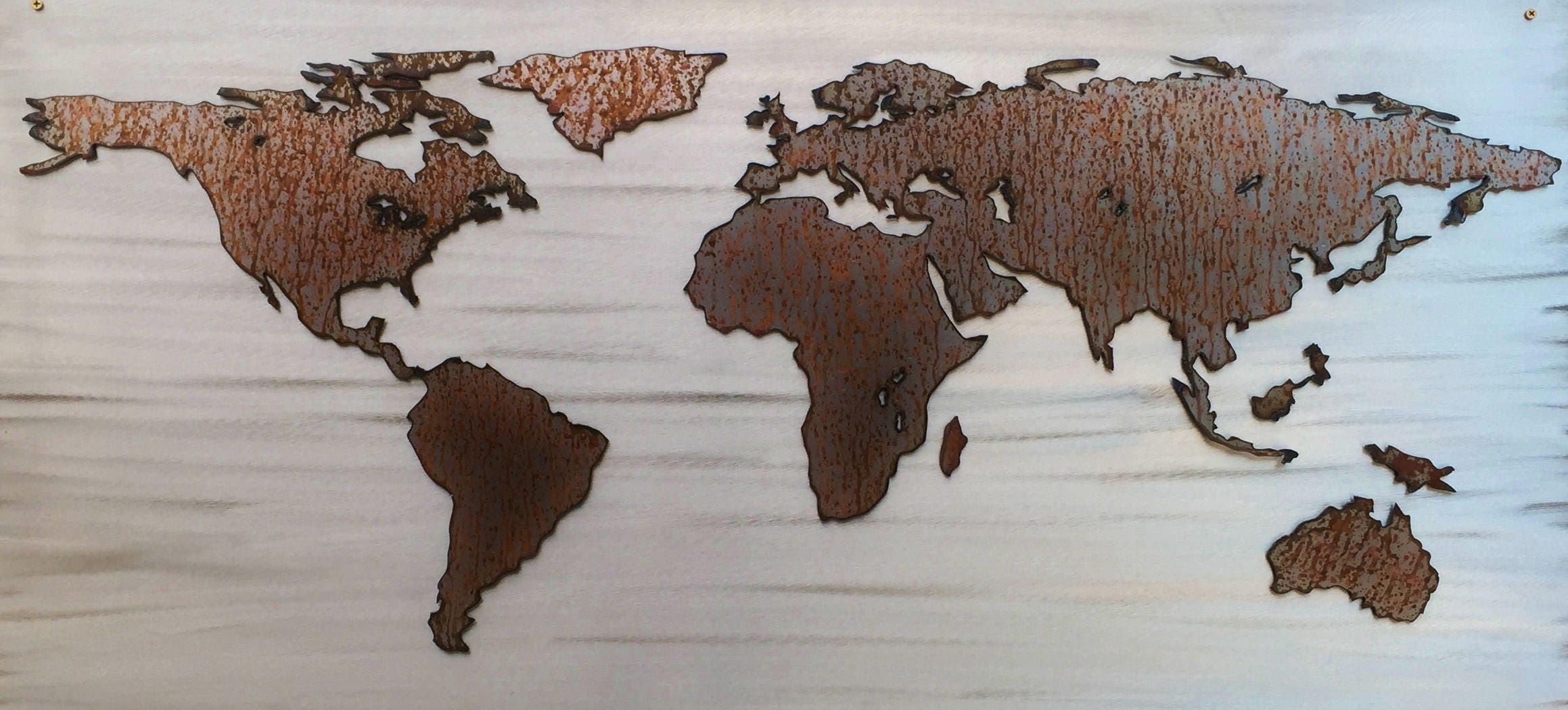 Large World Map. Rustic Home Decor. New Home Gifts For
