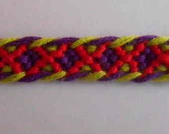 Bracelet Brazilian red, green, purple diamond