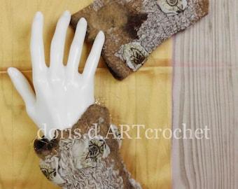 Felted ornate cuffs, eads and lace, wool on silk, nuno felt