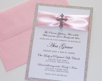 Baptism Invitation   Christening Invitation   Glitter Invitation   Cross Invitation   Communion   Religious   Light Pink Silver - SAMPLE