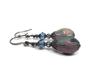 Crystal Teardrop Earrings, Lever Back Hook, AB Multi Color Holo Holographic, Gunmetal Plated, Vintage Style, Screw Back