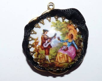 charm table serenade pendant painting romantic love musicians Baroque for pendant jewelry making