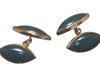 Bloodstone Cufflinks Double Lozenge Gold Plated Sterling Silver 925