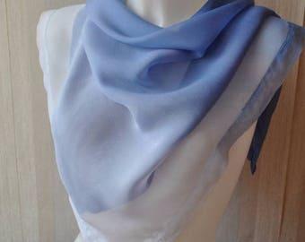 Vintage blue white  shades Alfred Keller  silk scarf