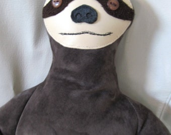 Three Toed Sloth, Stuffed Animal, Leather, Plush, Plushie, Soft Sculpture, Art Doll