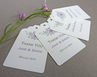 Modern/purple and sage/floral print/designer Thank You/favor/gift tags - pack of 10 - personalised