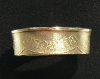 Brass Coin Ring 1992 Ukraine 50 Kopiyok, Ring Size 7 and Double Sided