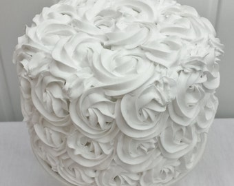 white rosette fake cake, display cake, photo shoot