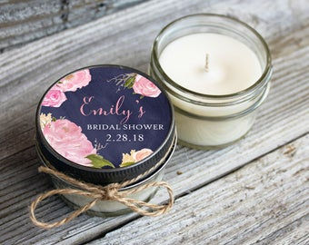 Set of 12 - 4 oz Candle Wedding Favor//Soy Candle Favor//Personalized Wedding Favors //Floral Wedding//Chalkboard & Rose Wedding Favors