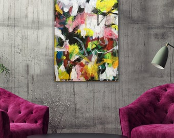 Abstract Painting Original Modern Art on Panel Wall Art Decor Contemporary Painting Abstract Expressionist Graffiti Painting Mixed Media