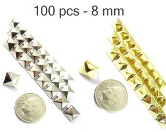 100 pièces - 5/16 po (8 mm). Nailheads taches Pyramid Studs - 2 broches (2 cuisses) Square Stud Spike - pour le bricolage sac, chaussures, sur la mode des vêtements